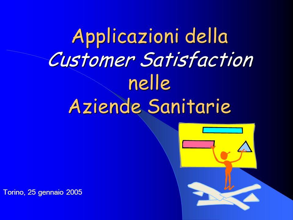 Applicazioni della Customer Satisfaction nelle Aziende Sanitarie Torino, 25 gennaio 2005