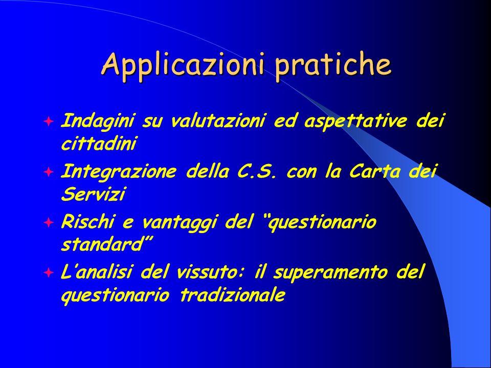 Applicazioni pratiche Indagini su valutazioni ed aspettative dei cittadini Integrazione della C.S. con la Carta dei Servizi Rischi e vantaggi del ques