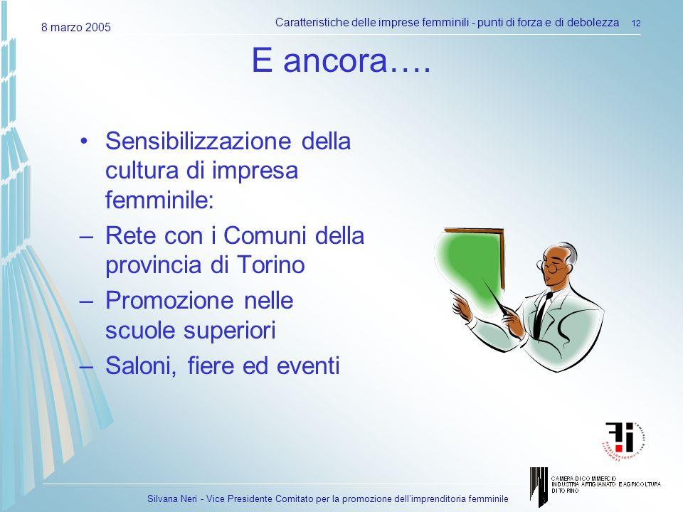 Silvana Neri - Vice Presidente Comitato per la promozione dellimprenditoria femminile 8 marzo 2005 Caratteristiche delle imprese femminili - punti di forza e di debolezza 12 E ancora….