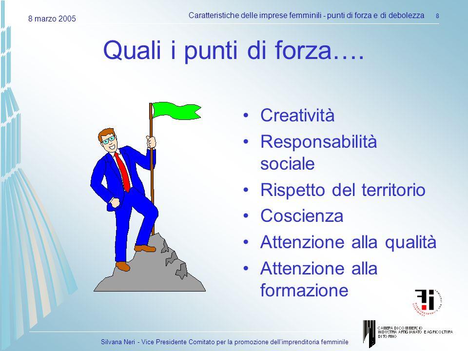 Silvana Neri - Vice Presidente Comitato per la promozione dellimprenditoria femminile 8 marzo 2005 Caratteristiche delle imprese femminili - punti di forza e di debolezza 8 Quali i punti di forza….