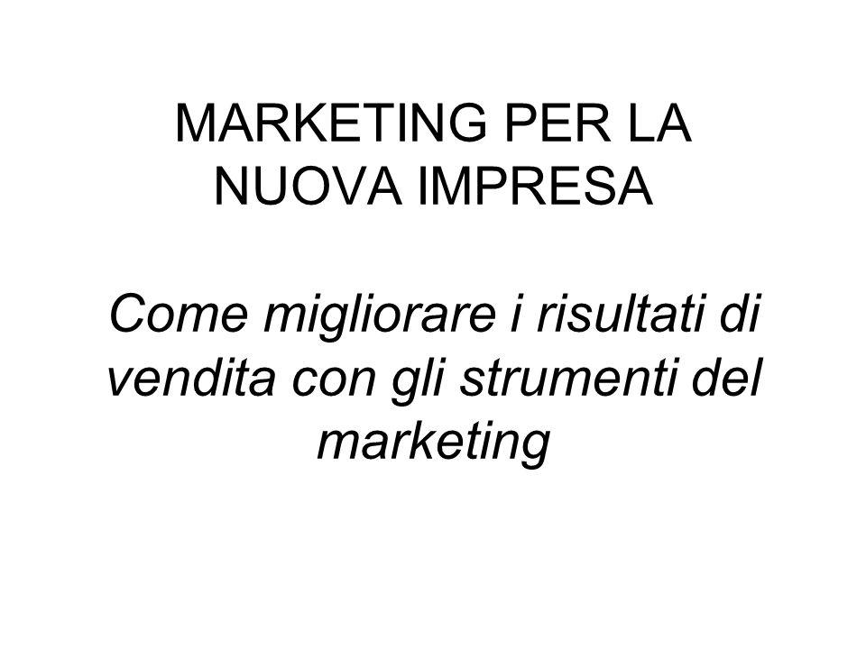 MARKETING PER LA NUOVA IMPRESA Come migliorare i risultati di vendita con gli strumenti del marketing