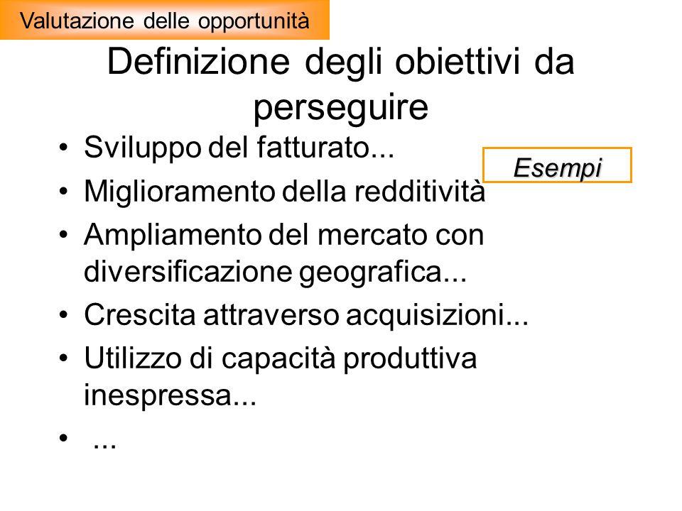 Definizione degli obiettivi da perseguire Sviluppo del fatturato... Miglioramento della redditività Ampliamento del mercato con diversificazione geogr