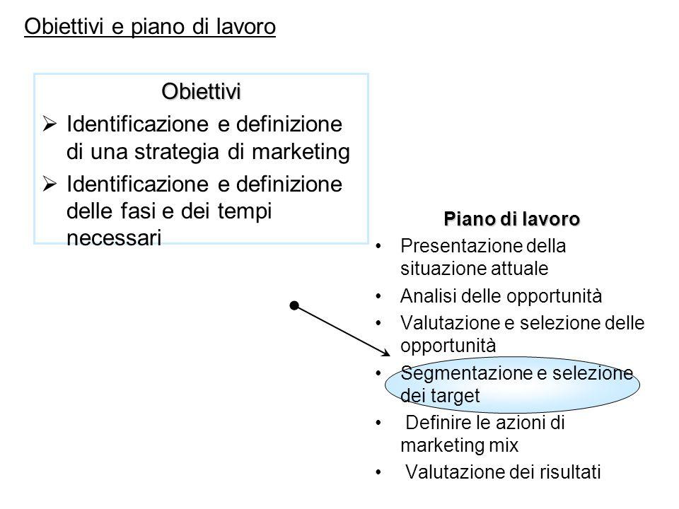 Piano di lavoro Presentazione della situazione attuale Analisi delle opportunità Valutazione e selezione delle opportunità Segmentazione e selezione d