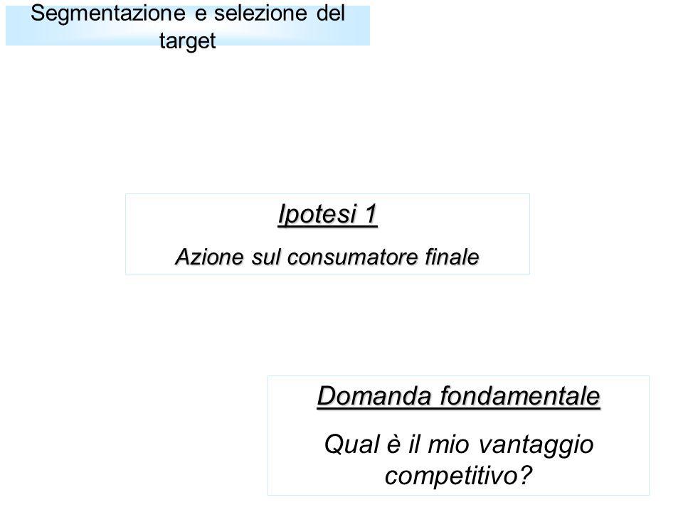 Ipotesi 1 Azione sul consumatore finale Segmentazione e selezione del target Domanda fondamentale Qual è il mio vantaggio competitivo?