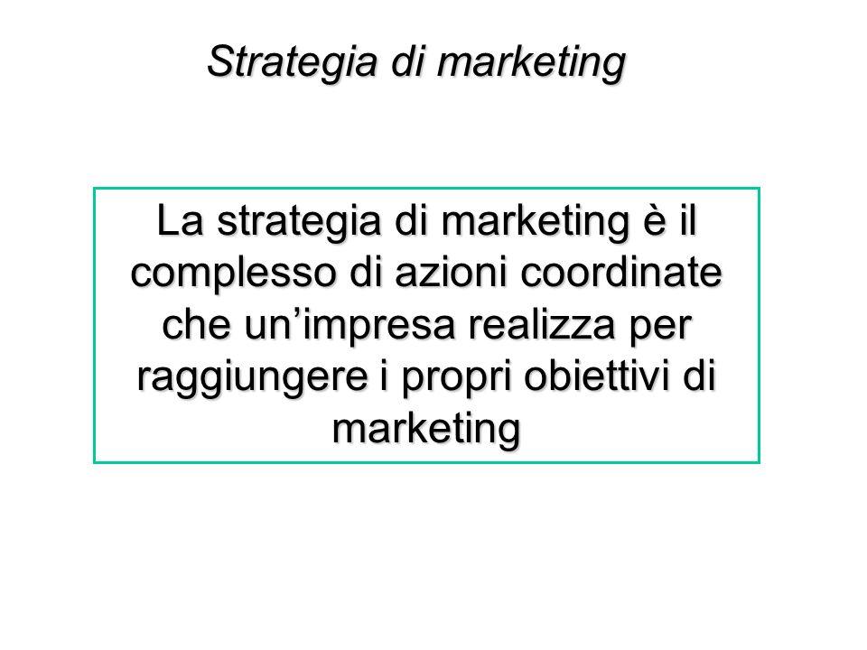 Strategia di marketing La strategia di marketing è il complesso di azioni coordinate che unimpresa realizza per raggiungere i propri obiettivi di mark