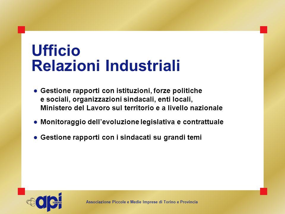 Associazione Piccole e Medie Imprese di Torino e Provincia Ufficio Relazioni Industriali Gestione rapporti con istituzioni, forze politiche e sociali,
