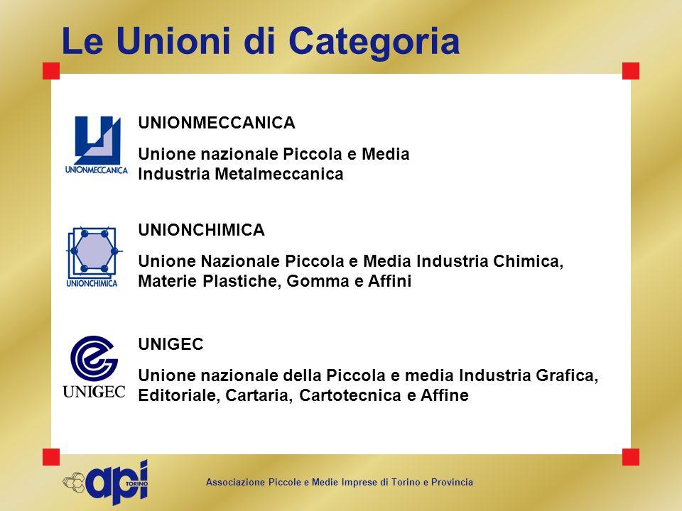 Associazione Piccole e Medie Imprese di Torino e Provincia Le Unioni di Categoria UNIONCHIMICA Unione Nazionale Piccola e Media Industria Chimica, Mat