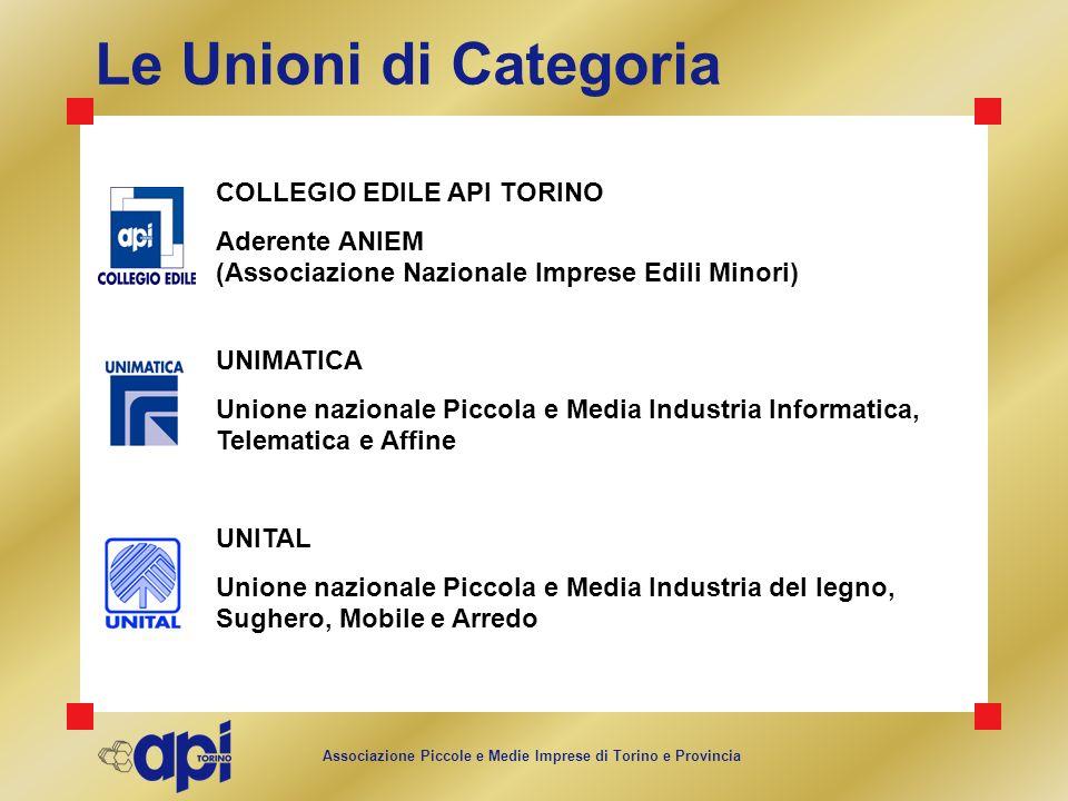 Associazione Piccole e Medie Imprese di Torino e Provincia Le Unioni di Categoria UNIMATICA Unione nazionale Piccola e Media Industria Informatica, Te