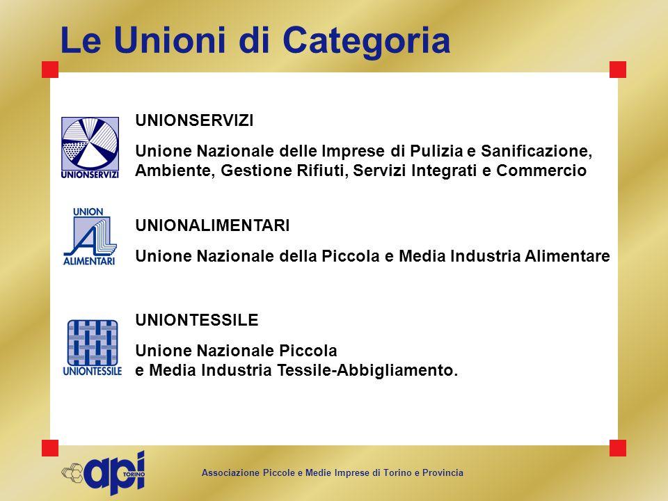 Associazione Piccole e Medie Imprese di Torino e Provincia Le Unioni di Categoria UNIONALIMENTARI Unione Nazionale della Piccola e Media Industria Ali