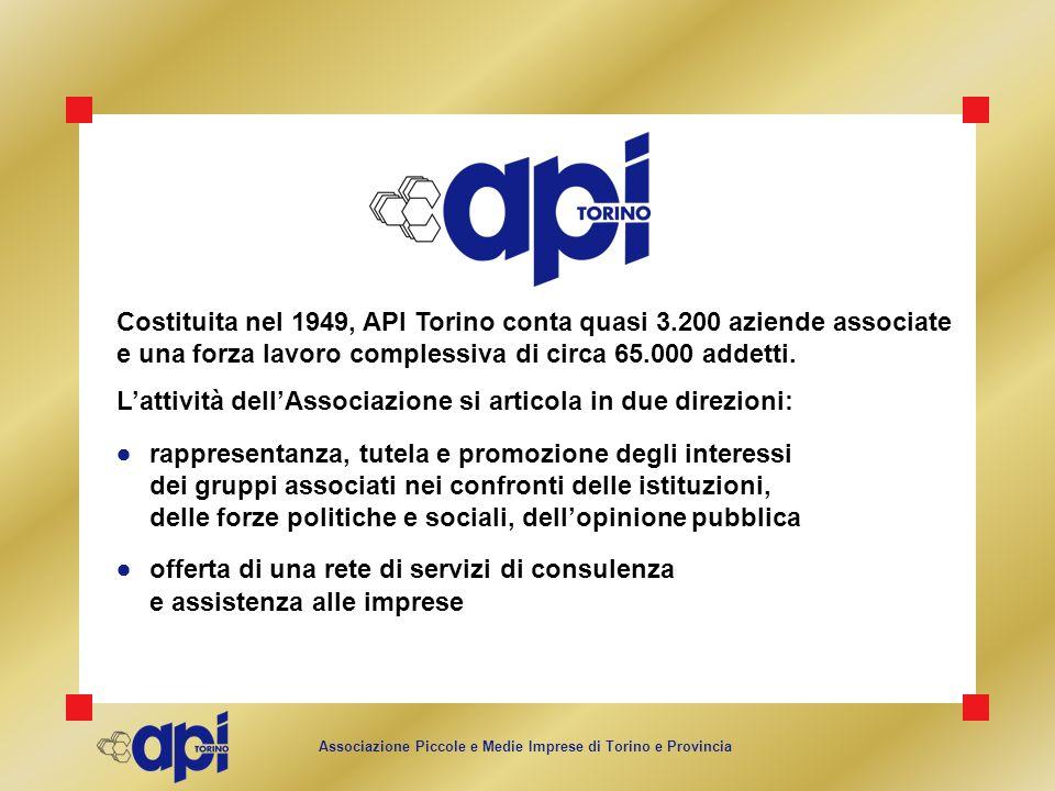 Costituita nel 1949, API Torino conta quasi 3.200 aziende associate e una forza lavoro complessiva di circa 65.000 addetti. Lattività dellAssociazione