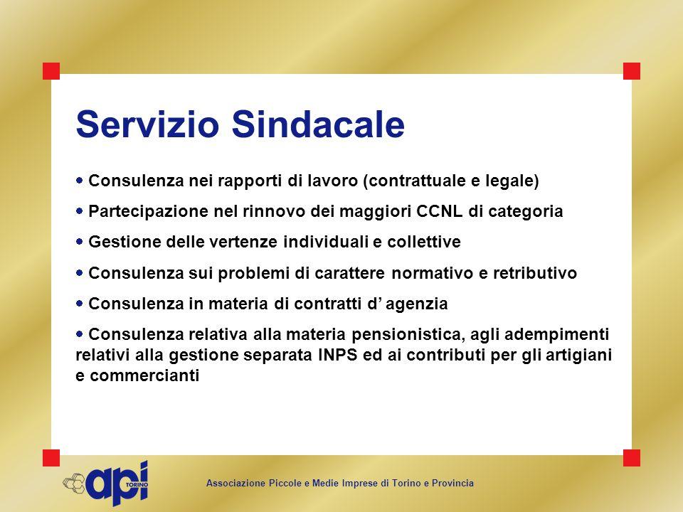 Associazione Piccole e Medie Imprese di Torino e Provincia Servizio Sindacale Consulenza nei rapporti di lavoro (contrattuale e legale) Partecipazione