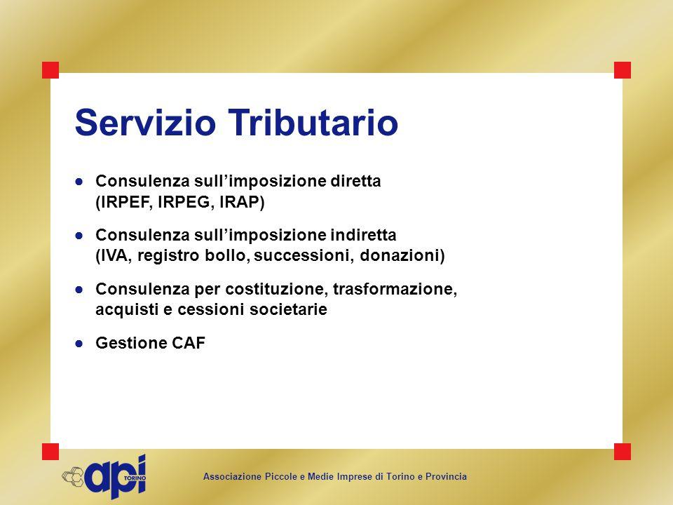 Associazione Piccole e Medie Imprese di Torino e Provincia Servizio Tributario Consulenza sullimposizione diretta (IRPEF, IRPEG, IRAP) Consulenza sull