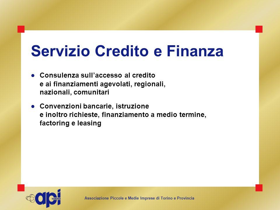 Associazione Piccole e Medie Imprese di Torino e Provincia Servizio Credito e Finanza Consulenza sullaccesso al credito e ai finanziamenti agevolati,