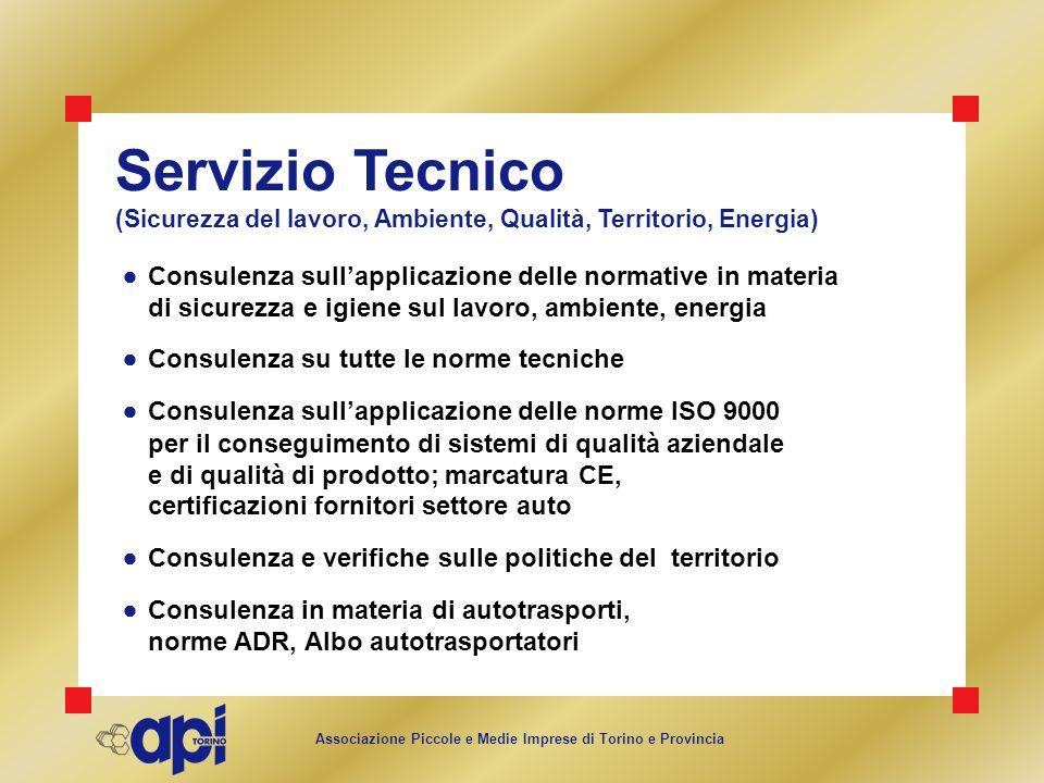 Associazione Piccole e Medie Imprese di Torino e Provincia Servizio Tecnico (Sicurezza del lavoro, Ambiente, Qualità, Territorio, Energia) Consulenza