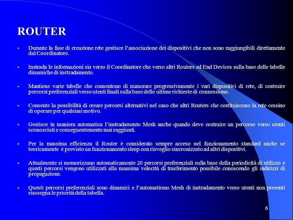 7 END DEVICE Non prevede possibilità di instradamento dinamico e pertanto si collega alla rete tramite un Router (o Coordinatore ) detto padre al quale si è associato.