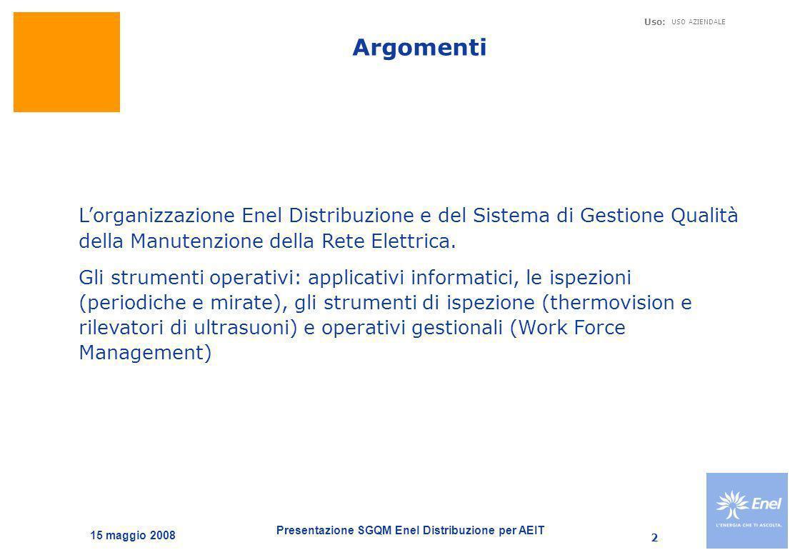 Presentazione SGQM Enel Distribuzione per AEIT Uso: USO AZIENDALE 15 maggio 2008 2 Argomenti Lorganizzazione Enel Distribuzione e del Sistema di Gesti
