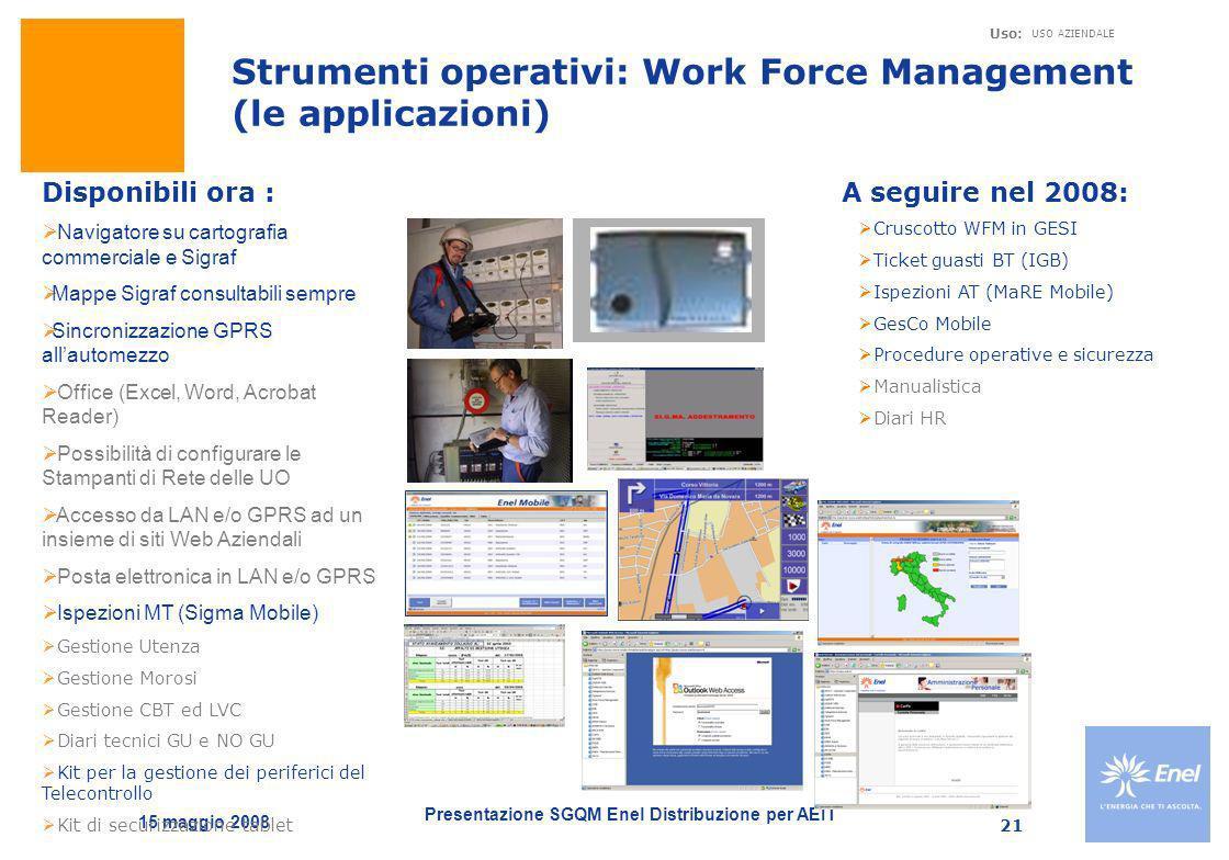 Presentazione SGQM Enel Distribuzione per AEIT Uso: USO AZIENDALE 15 maggio 2008 21 Disponibili ora : Navigatore su cartografia commerciale e Sigraf M