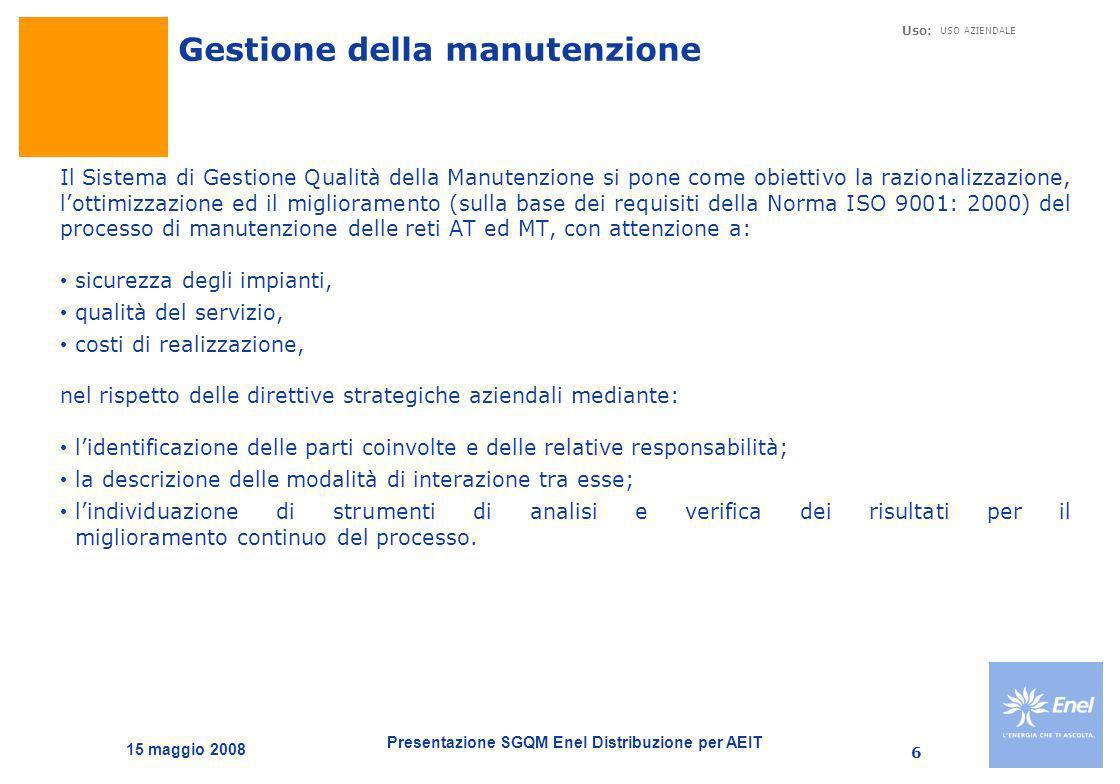 Presentazione SGQM Enel Distribuzione per AEIT Uso: USO AZIENDALE 15 maggio 2008 6 Il Sistema di Gestione Qualità della Manutenzione si pone come obie