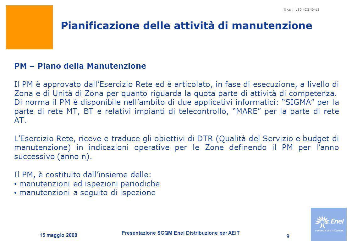 Presentazione SGQM Enel Distribuzione per AEIT Uso: USO AZIENDALE 15 maggio 2008 10 Pianificazione delle attività di manutenzione