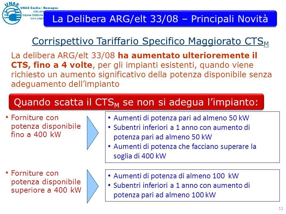 11 Corrispettivo Tariffario Specifico Maggiorato CTS M La Delibera ARG/elt 33/08 – Principali Novità La delibera ARG/elt 33/08 ha aumentato ulterioremente il CTS, fino a 4 volte, per gli impianti esistenti, quando viene richiesto un aumento significativo della potenza disponibile senza adeguamento dellimpianto Aumenti di potenza pari ad almeno 50 kW Subentri inferiori a 1 anno con aumento di potenza pari ad almeno 50 kW Aumenti di potenza che facciano superare la soglia di 400 kW Quando scatta il CTS M se non si adegua limpianto: Forniture con potenza disponibile fino a 400 kW Aumenti di potenza di almeno 100 kW Subentri inferiori a 1 anno con aumento di potenza pari ad almeno 100 kW Forniture con potenza disponibile superiore a 400 kW