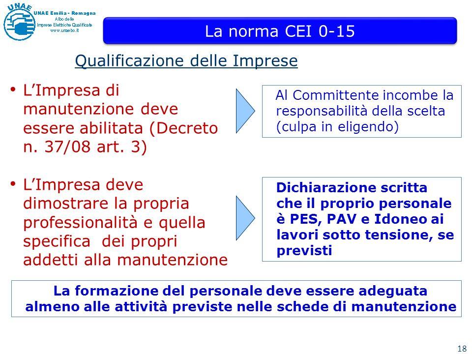 18 Qualificazione delle Imprese Al Committente incombe la responsabilità della scelta (culpa in eligendo) LImpresa di manutenzione deve essere abilitata (Decreto n.