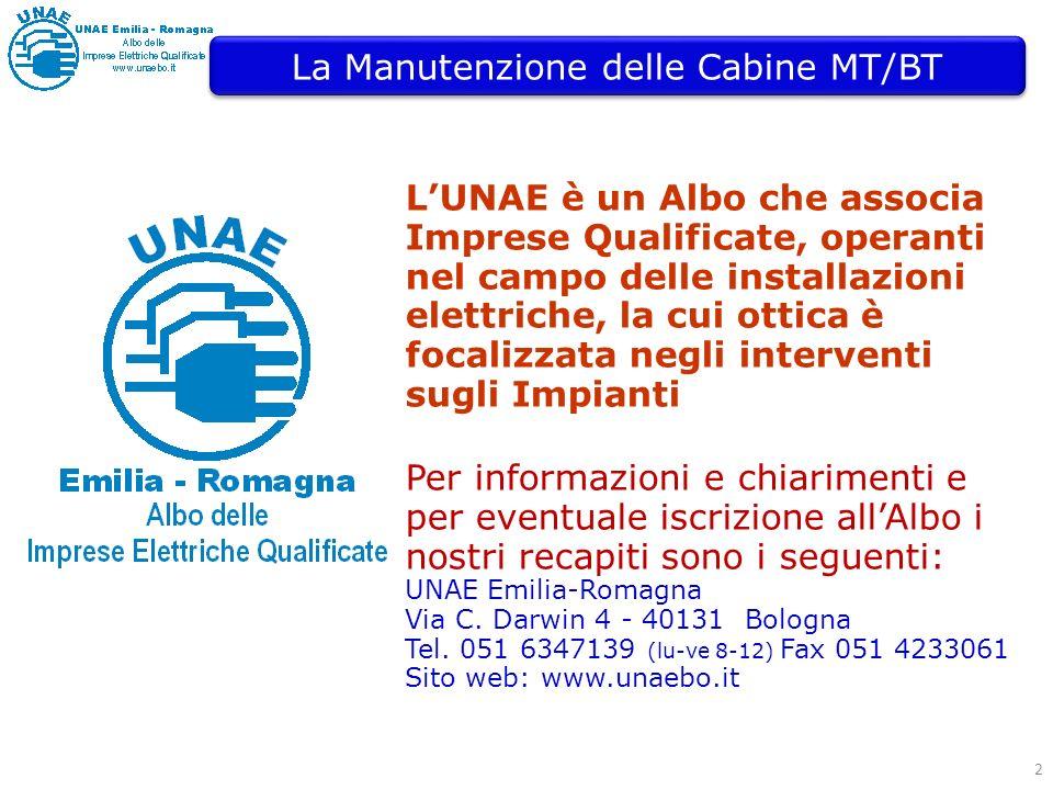 2 LUNAE è un Albo che associa Imprese Qualificate, operanti nel campo delle installazioni elettriche, la cui ottica è focalizzata negli interventi sugli Impianti La Manutenzione delle Cabine MT/BT Per informazioni e chiarimenti e per eventuale iscrizione allAlbo i nostri recapiti sono i seguenti: UNAE Emilia-Romagna Via C.