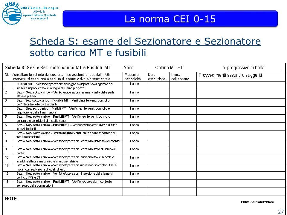 27 La norma CEI 0-15 Scheda S: esame del Sezionatore e Sezionatore sotto carico MT e fusibili