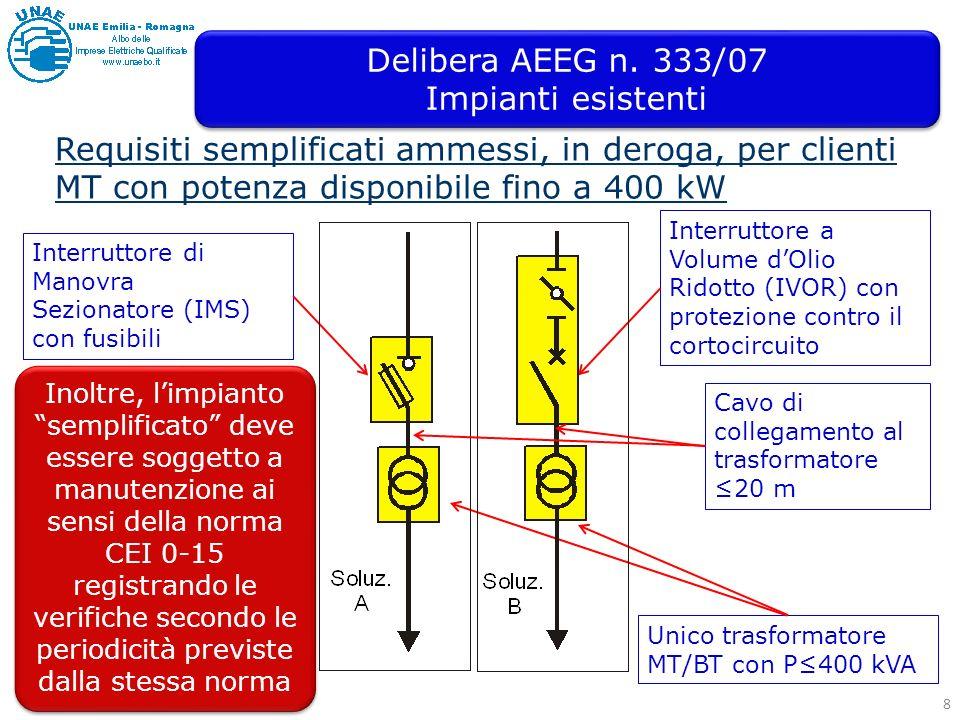 8 Requisiti semplificati ammessi, in deroga, per clienti MT con potenza disponibile fino a 400 kW Unico trasformatore MT/BT con P400 kVA Interruttore di Manovra Sezionatore (IMS) con fusibili Interruttore a Volume dOlio Ridotto (IVOR) con protezione contro il cortocircuito Cavo di collegamento al trasformatore 20 m Inoltre, limpianto semplificato deve essere soggetto a manutenzione ai sensi della norma CEI 0-15 registrando le verifiche secondo le periodicità previste dalla stessa norma Delibera AEEG n.