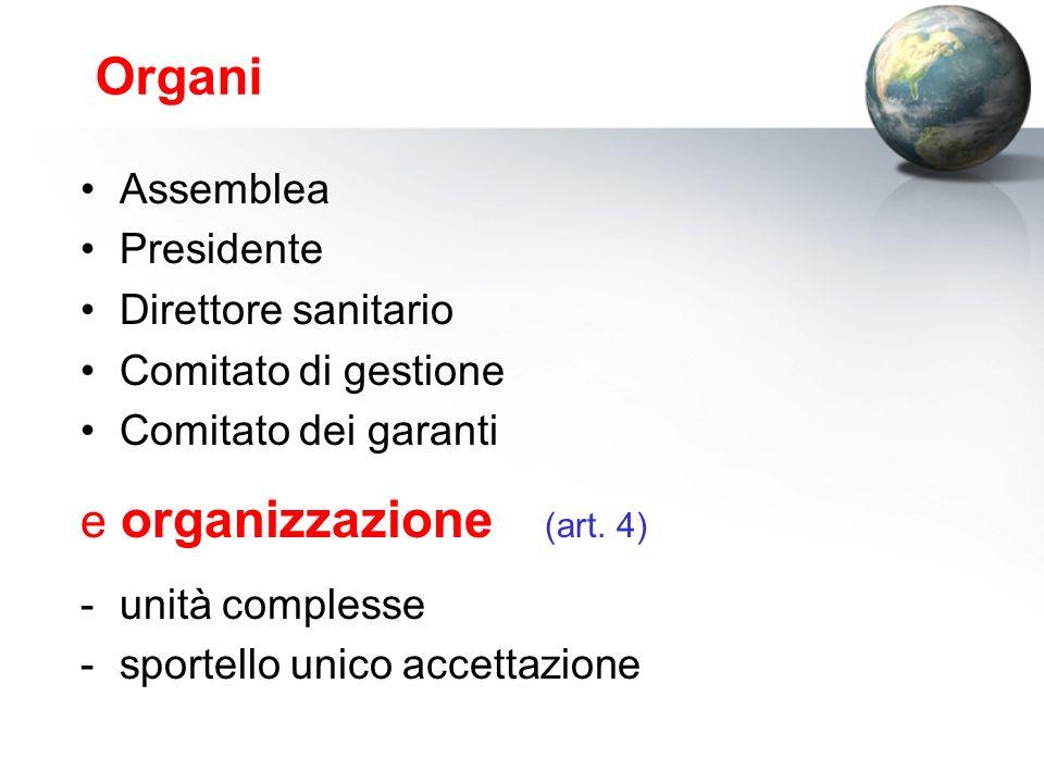 Organi Assemblea Presidente Direttore sanitario Comitato di gestione Comitato dei garanti e organizzazione (art.