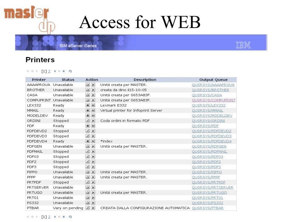 Access for WEB Gestione le stampe e le stampanti