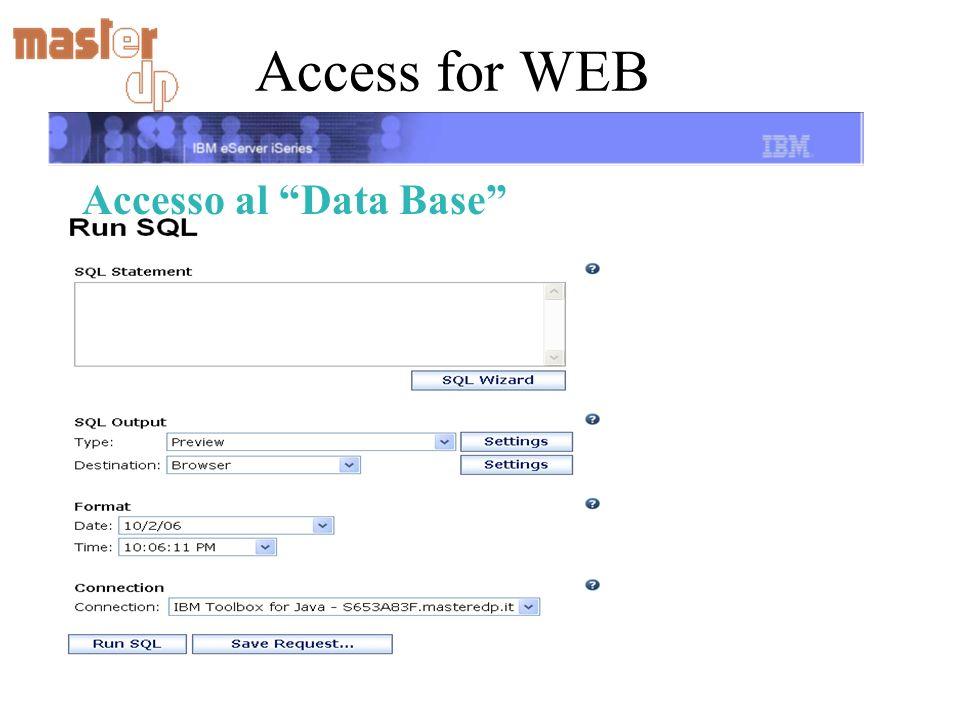 Access for WEB Accesso al Data Base