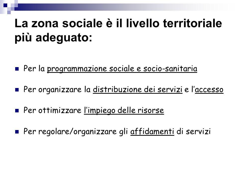 La zona sociale è il livello territoriale più adeguato: Per la programmazione sociale e socio-sanitaria Per organizzare la distribuzione dei servizi e