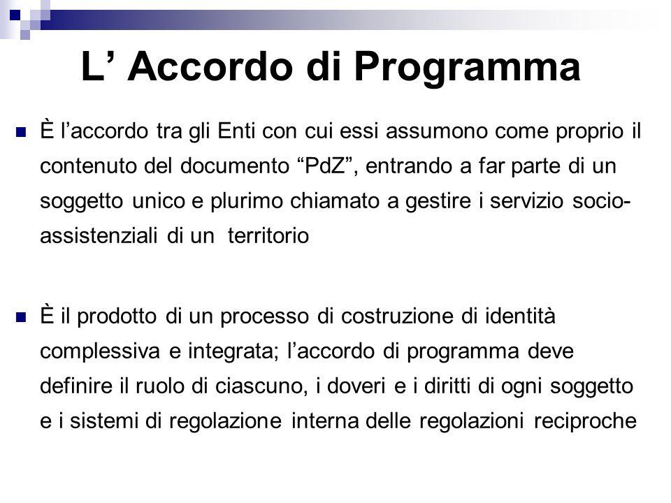 L Accordo di Programma È laccordo tra gli Enti con cui essi assumono come proprio il contenuto del documento PdZ, entrando a far parte di un soggetto