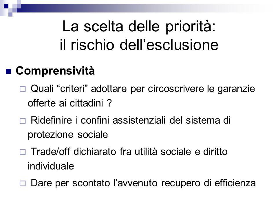 Comprensività Quali criteri adottare per circoscrivere le garanzie offerte ai cittadini ? Ridefinire i confini assistenziali del sistema di protezione