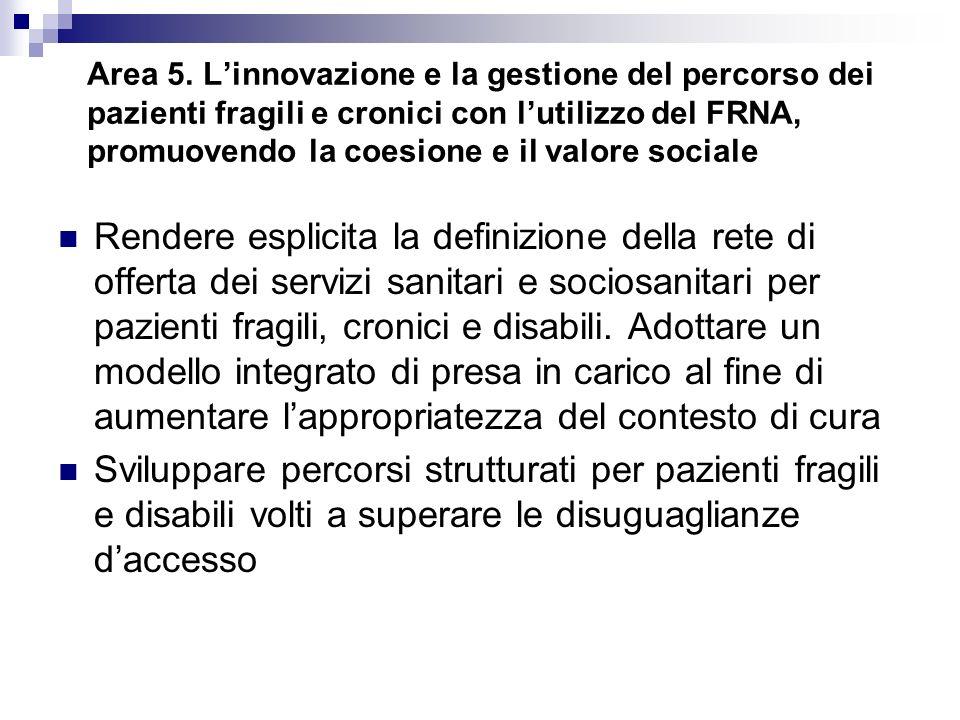 Area 5. Linnovazione e la gestione del percorso dei pazienti fragili e cronici con lutilizzo del FRNA, promuovendo la coesione e il valore sociale Ren
