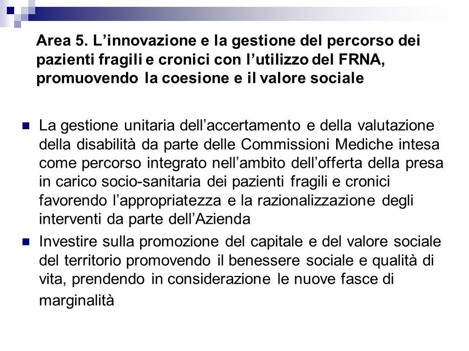 Area 5. Linnovazione e la gestione del percorso dei pazienti fragili e cronici con lutilizzo del FRNA, promuovendo la coesione e il valore sociale La