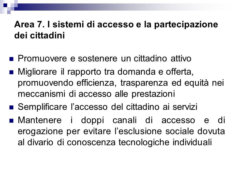 Area 7. I sistemi di accesso e la partecipazione dei cittadini Promuovere e sostenere un cittadino attivo Migliorare il rapporto tra domanda e offerta