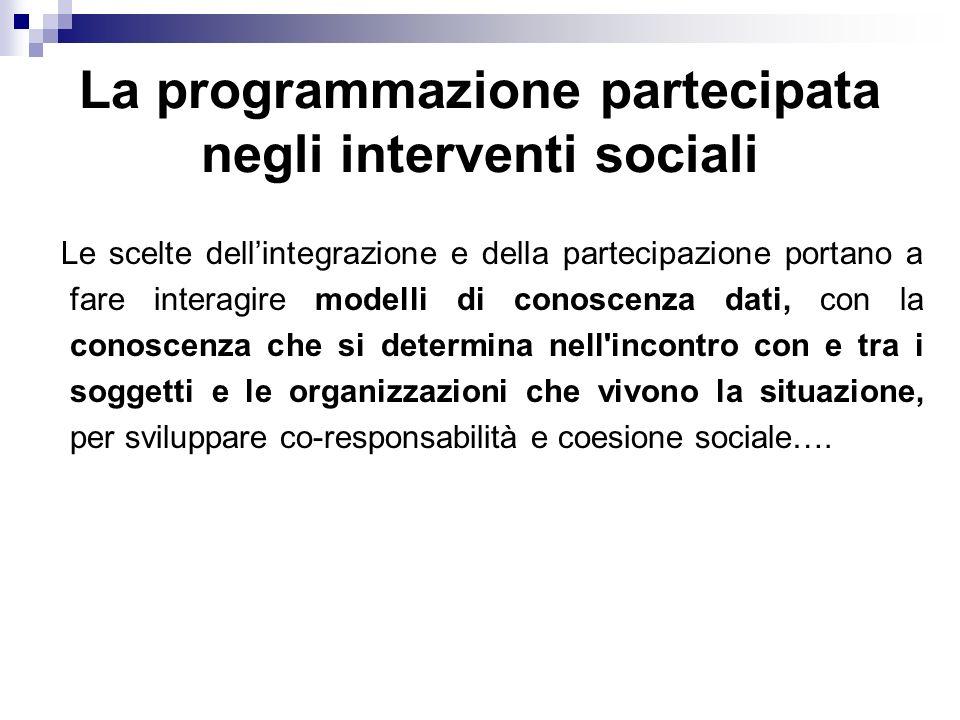 La programmazione partecipata negli interventi sociali Le scelte dellintegrazione e della partecipazione portano a fare interagire modelli di conoscen