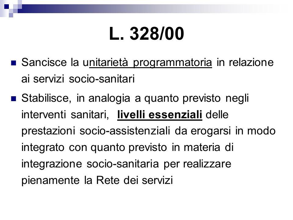 Sancisce la unitarietà programmatoria in relazione ai servizi socio-sanitari Stabilisce, in analogia a quanto previsto negli interventi sanitari, live