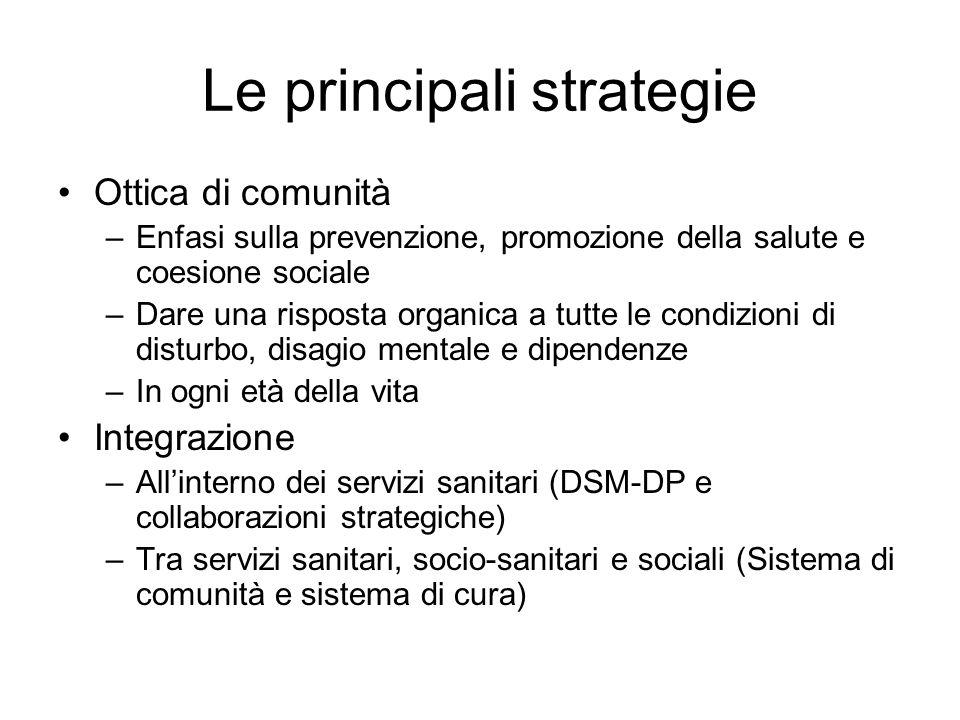 Le principali strategie Ottica di comunità –Enfasi sulla prevenzione, promozione della salute e coesione sociale –Dare una risposta organica a tutte l