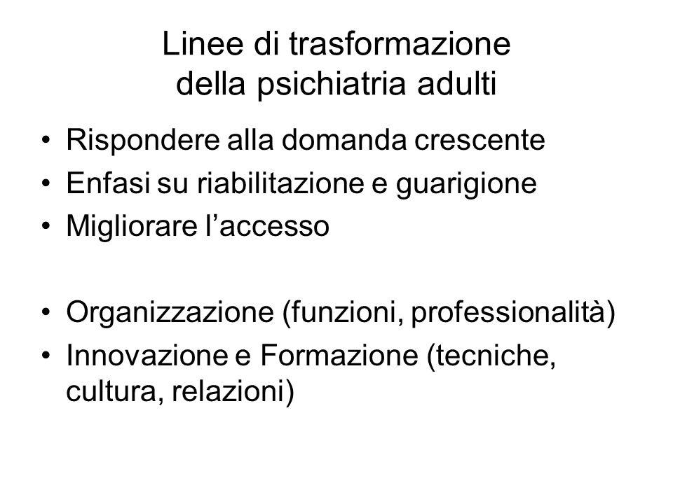Linee di trasformazione della psichiatria adulti Rispondere alla domanda crescente Enfasi su riabilitazione e guarigione Migliorare laccesso Organizza
