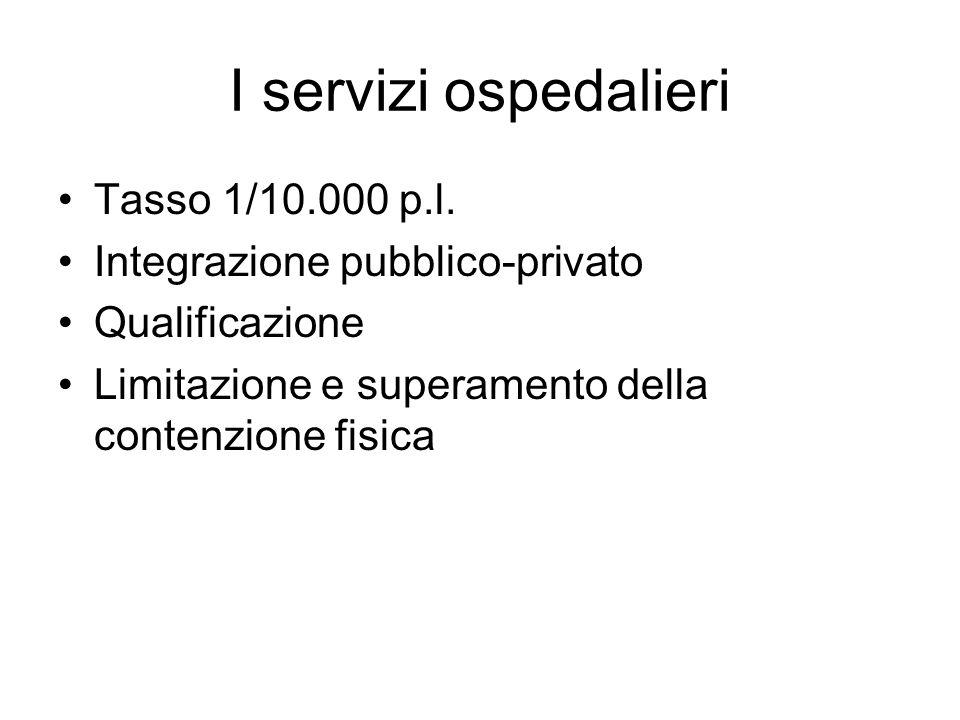 I servizi ospedalieri Tasso 1/10.000 p.l. Integrazione pubblico-privato Qualificazione Limitazione e superamento della contenzione fisica