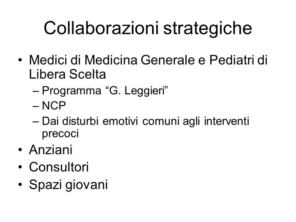 Collaborazioni strategiche Medici di Medicina Generale e Pediatri di Libera Scelta –Programma G. Leggieri –NCP –Dai disturbi emotivi comuni agli inter