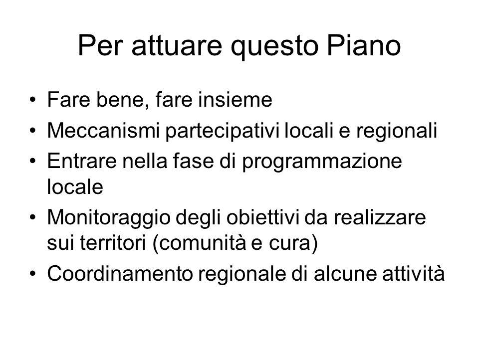 Per attuare questo Piano Fare bene, fare insieme Meccanismi partecipativi locali e regionali Entrare nella fase di programmazione locale Monitoraggio