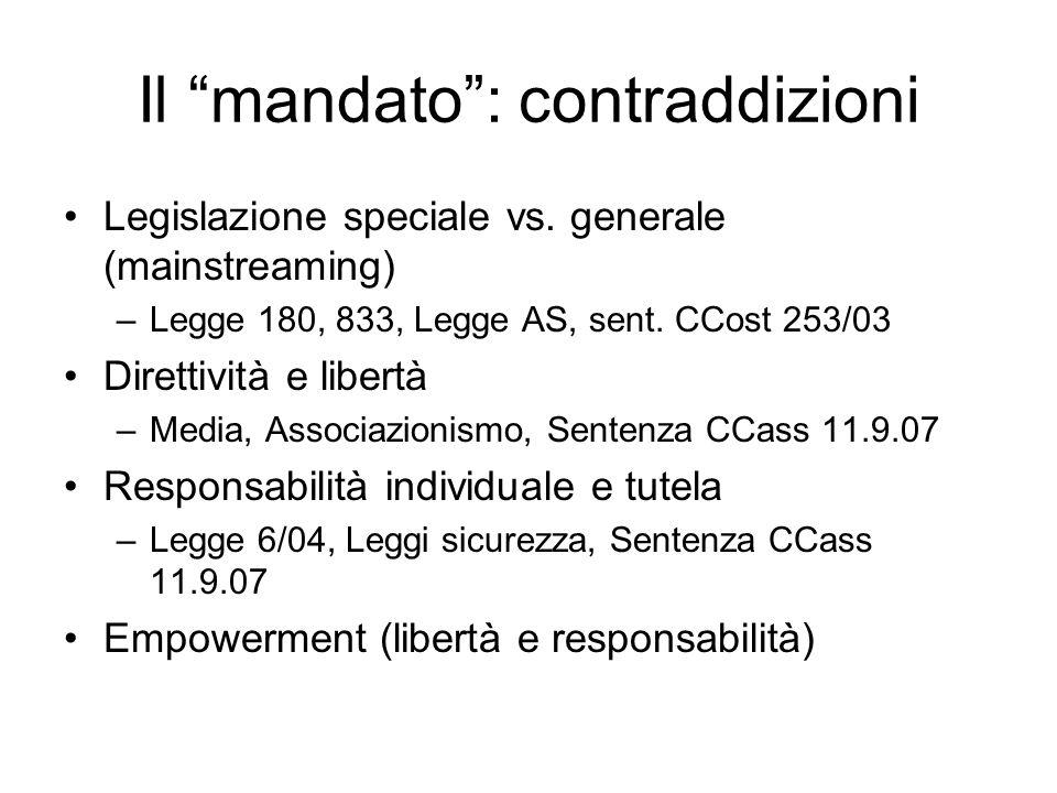 Il mandato: contraddizioni Legislazione speciale vs. generale (mainstreaming) –Legge 180, 833, Legge AS, sent. CCost 253/03 Direttività e libertà –Med