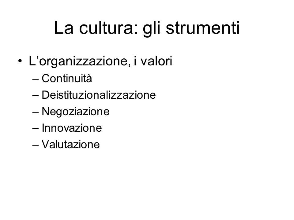 La cultura: gli strumenti Lorganizzazione, i valori –Continuità –Deistituzionalizzazione –Negoziazione –Innovazione –Valutazione