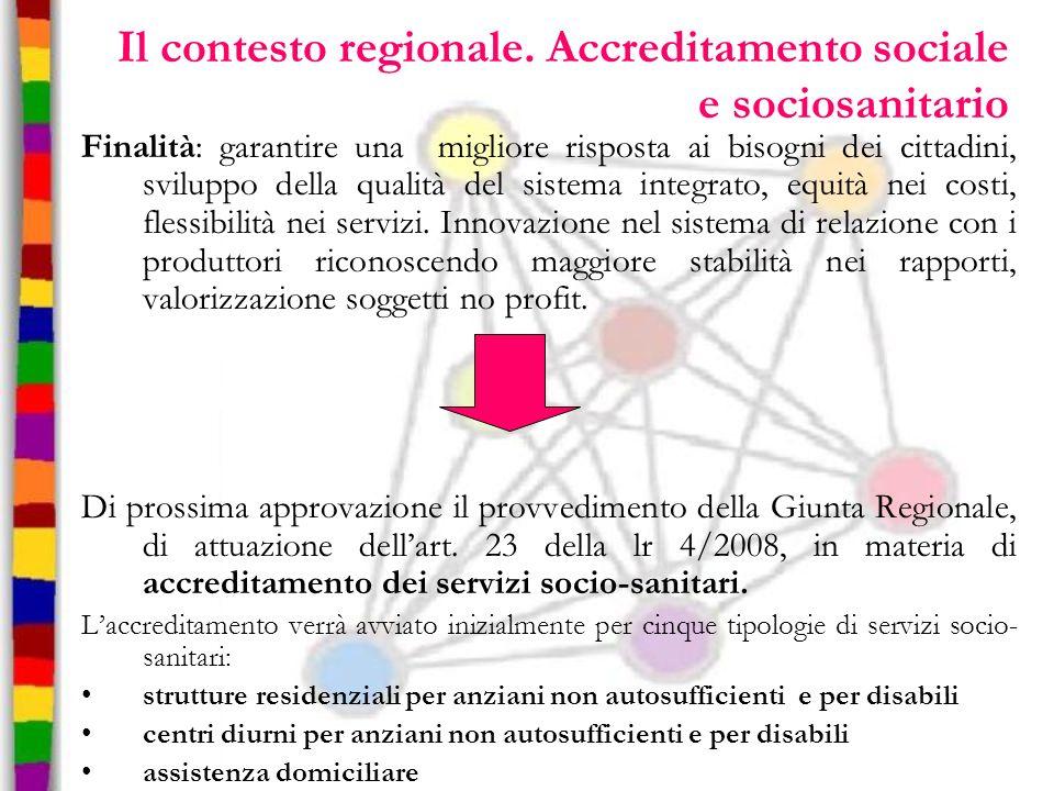 Il contesto regionale. Accreditamento sociale e sociosanitario Finalità: garantire una migliore risposta ai bisogni dei cittadini, sviluppo della qual
