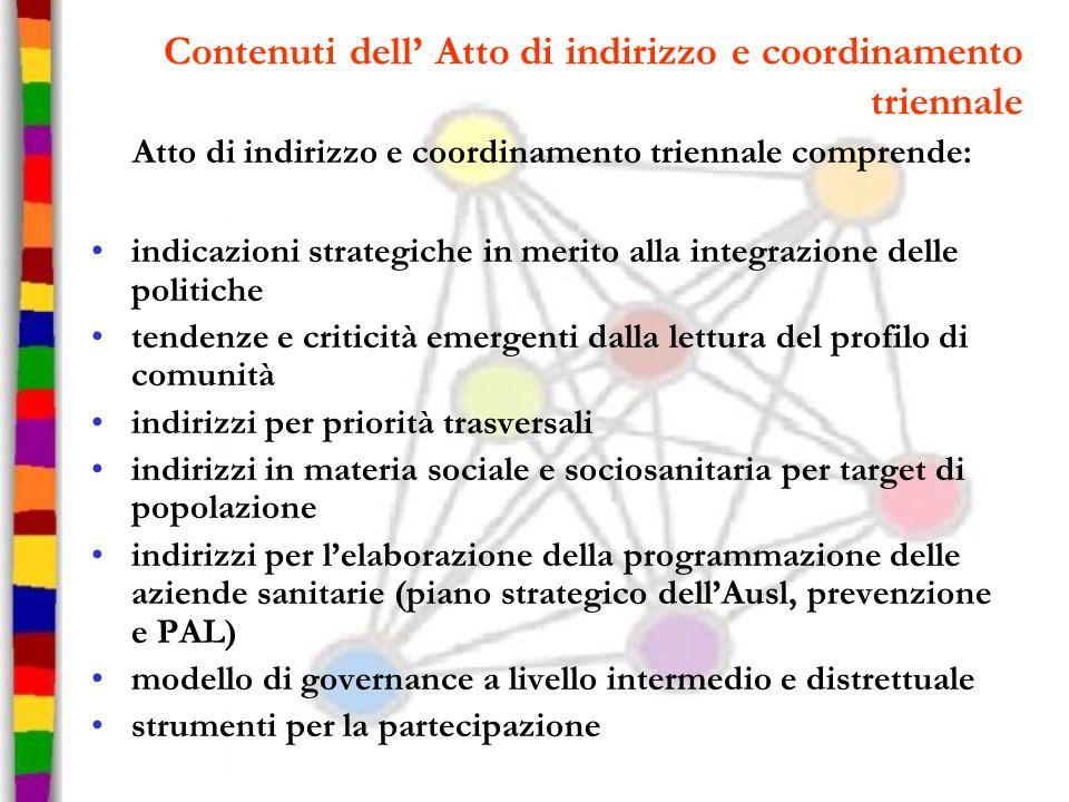 Contenuti dell Atto di indirizzo e coordinamento triennale Atto di indirizzo e coordinamento triennale comprende: indicazioni strategiche in merito al