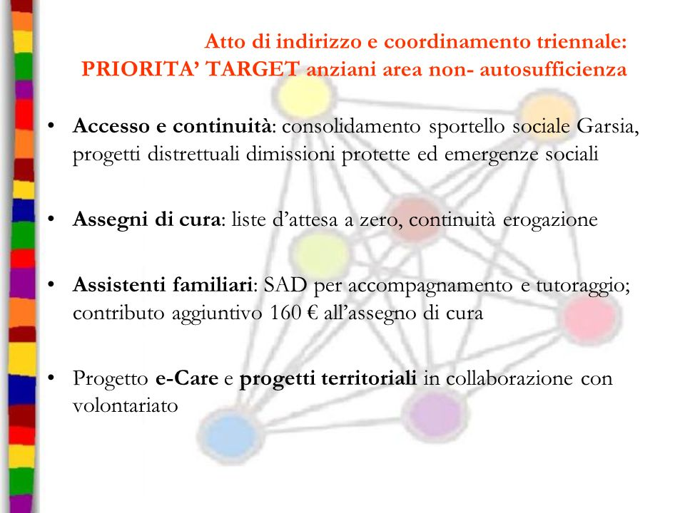 Atto di indirizzo e coordinamento triennale: PRIORITA TARGET anziani area non- autosufficienza Accesso e continuità: consolidamento sportello sociale