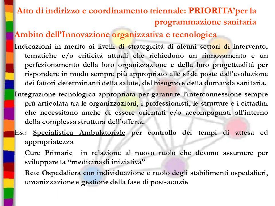 Atto di indirizzo e coordinamento triennale: PRIORITAper la programmazione sanitaria Ambito dellInnovazione organizzativa e tecnologica Indicazioni in